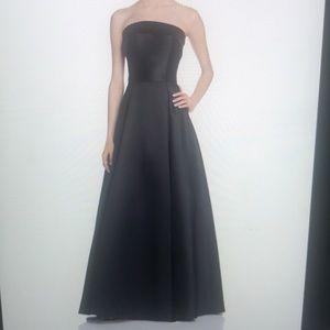 Aqua velvet trim black gown